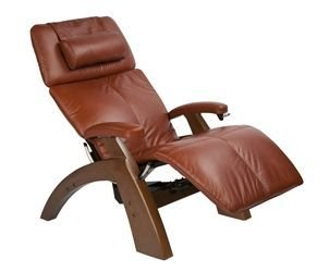 The Human Touch Power Electric Recline Perfect Chair Recliner - Silhouette Pc75 / Pc-075 Walnut Recline Wood Base - Interactive Health Zero Anti Gravity Chair - Executive Premium Cognac Leather