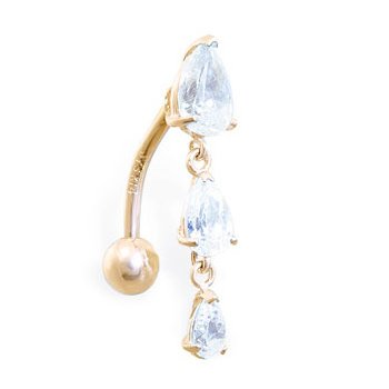 14K white gold reversed belly ring with triple teardrop CZ dangle,Gold color:Yellow gold