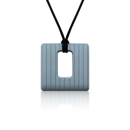 Siliconies Square Pendant (Teething/Nursing/Sensory) - Silver Grey