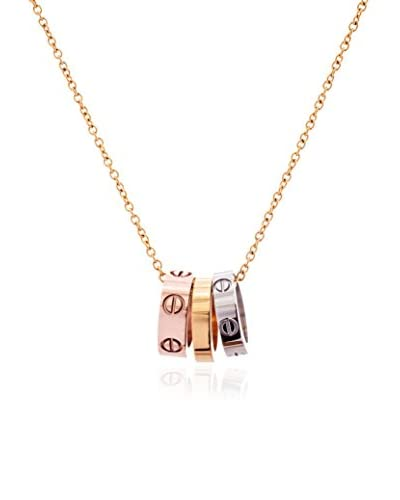 Annabella Lilly Tri-Tone 3-Ring Screw Necklace As You See