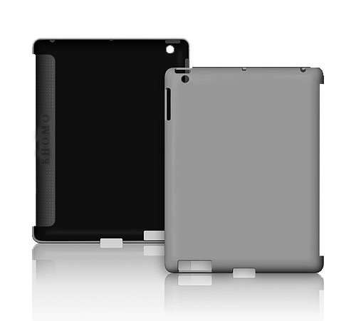 KHOMO: Gray HARD (not cheap soft TPU silicone) Rubberized Polycarbonate Case Compatible with Apple iPad 2 Smart Cover (Smart Cover Companion Case)