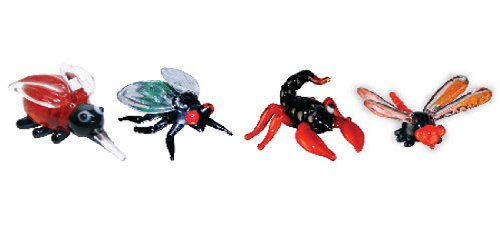 Looking Glass Miniature Collectible - Mosquito / Fly / Scorpion / Damsel Fly (4-Pack)