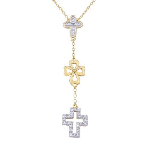 18k Yellow Gold Plated Sterling Silver Diamond Accent Cross Necklace, 17""