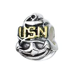 Genuine Zable (TM) Product. 925 Sterling Silver US Navy Charm. 100% Satisfaction Guaranteed.