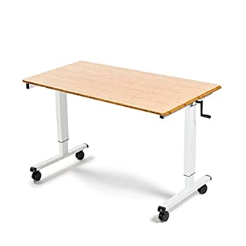 """48"""" Crank Adjustable Height Standing Desk (White Frame / Bamboo Top)"""