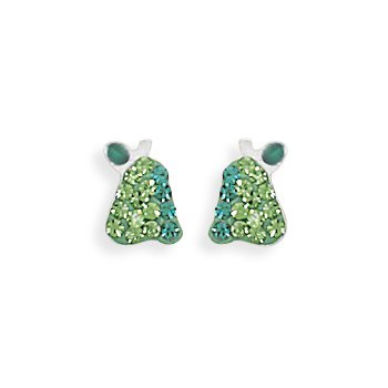Sterling Silver Crystal Pear Earrings