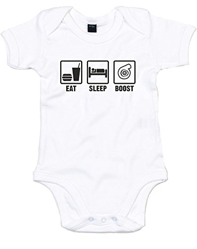 Eat Sleep Boost, Printed Baby Grow - White/Black 6-12 Months front-271921