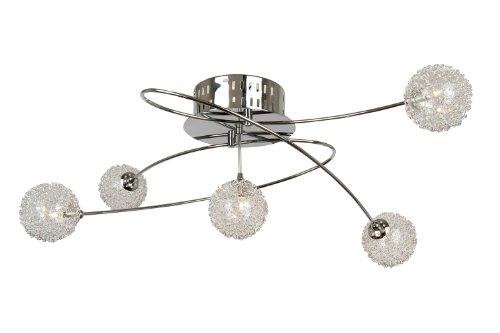 Globo Deckenleuchte, Metall chrom,  Glas Kugelgeflecht, 4 x G4,35 W,12 V, 68174-4