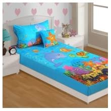 Swayam Kids N More Digital Print Mercerised Cotton Single Baby Bedsheet With 1 Pillow Cover - Multicolor (SKB02...