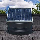 Solar Attic Fan 36-watt - Black - with 25-year Warranty - Florida Rated