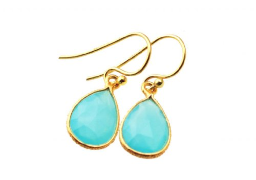 Exxotic Fashionable Royal Gold Plated Sterling Silver Aqua Blue Calcy Stone Dangle Earring for Women (multicolor)