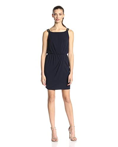 Jessica Simpson Women's Sleeveless Faux Wrap Dress with Beaded Straps  [Evening Blue]
