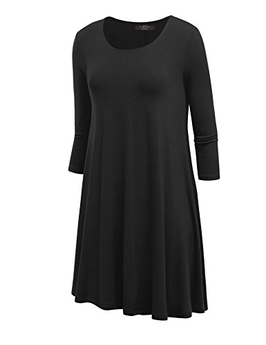LL WDR930 Womens Round Neck 3/4 Sleeves Trapeze Dress with Pockets XXL BLACK