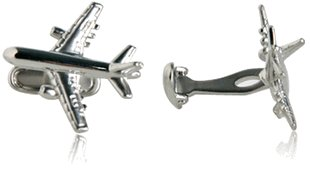 Commercial Airplane Silver Cufflinks with Presentation Box