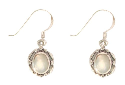 Sterling Silver Mother of Pearl Oval Earrings with French Wires, Pendant Length 0.88