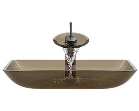 Aurora Sinks G10-Desert-ORB-G Bathroom Ensemble with Grid Drain, Desert Glass Vessel, Sink, Ring and Waterfall Faucet, Oil Rubbed Bronze