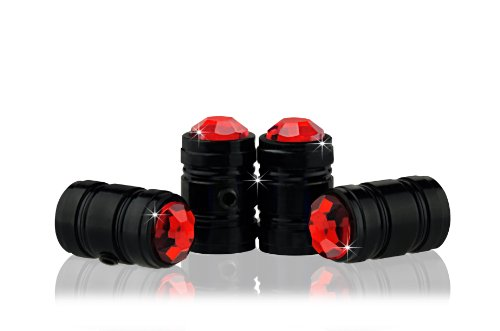Bling Anti-Theft Locking System Red(RD-BE) Crystal Metal Black Tire Rim Valve Stem Cap
