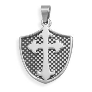 Shield and Fleuree Cross Pendant 2 Piece 316L Surgical Stainless Steel Checkerboard Design