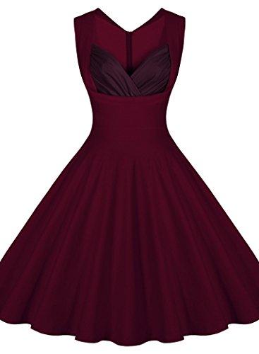 PAKULA Women's Cut Out V Neck Padded Vintage Retro Flattering Dress