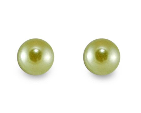Classic Lime Green Color Pearl Stud Earrings - Pierced Post - Multiple Sizes