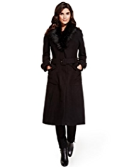 Per Una Detachable Faux Fur Collar Belted Coat