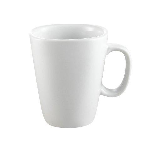 CAC China KSE-M10 Kingsquare 3-1/2-Inch 10-Ounce Super White Porcelain Square Mug, Box of 36