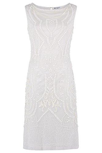 Dynasty Donna Corto Vestito elata Bianco non scialle stile 1072655 bianco 40