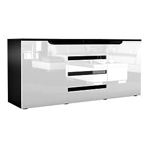 sideboard kommode sylt in schwarz wei hochglanz mit absetzungen in schwarz hochglanz amazon. Black Bedroom Furniture Sets. Home Design Ideas
