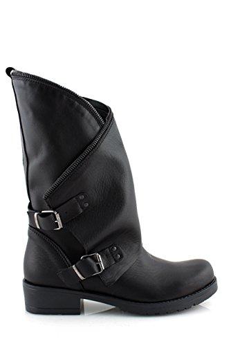 Stivali donna invernali pelle neri made in ITALY con cerniera tacco basso biker boots