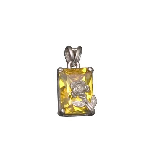 C.Z. YELLOW CITRINE SQUARE RHODIUM PLATED (.925) STERLING SILVER PENDENT (Nice Holiday Gift, Special Black Firday Sale)