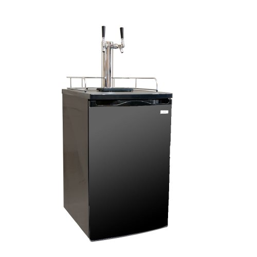 Kegco K199B-2 Dual Faucet Kegerator Draft Beer Dispenser with Black Cabinet and Door