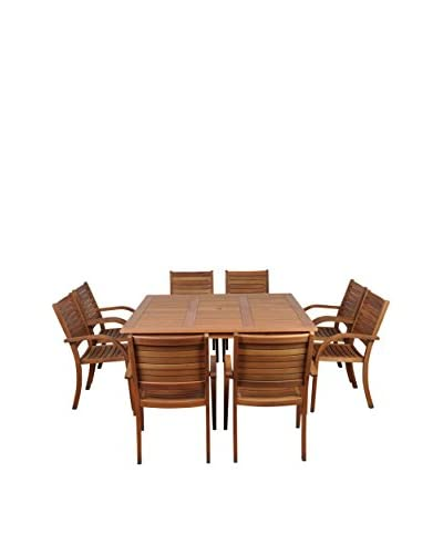 Amazonia Arizona 9-Piece Eucalyptus Square Patio Dining Set, Brown