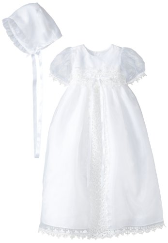Jayne Copeland Baby Girls' Christening Organza Galloon Lace Dress, White, 12 Months