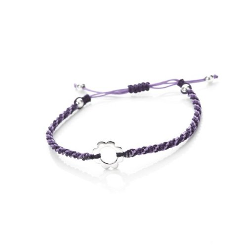 Amore Bracciali Friendship Bracelet. Featuring A Sterling Silver Flower Motif Set On A Purple Woven Cord With Sterling Silver Beads.