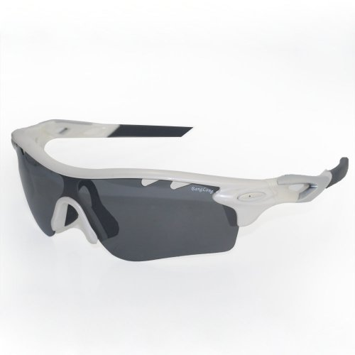 THG UV400 Polarised White Frame Outdoor Sport Hunting Golf Fishing Hiking Riding Sunglasses Comfortable Goggles