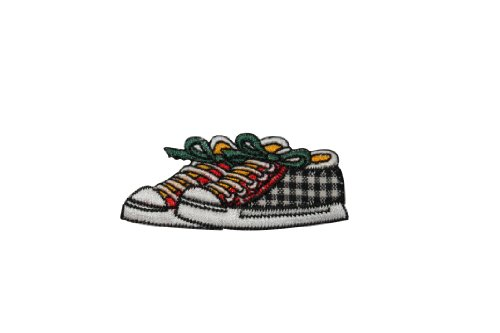 ID #7373 Checkered Shoes Sneakers Fashion Iron On Embroidered Patch Applique