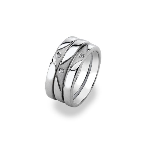 Hot Diamonds Cascade Stacking Silver And Diamond Ring - Size R