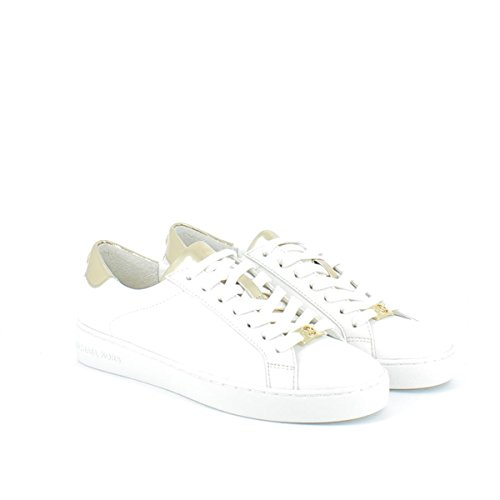 Michael Kors Sneaker Irving Lace Up Optic White Pale Gold Mirror Metallic 38