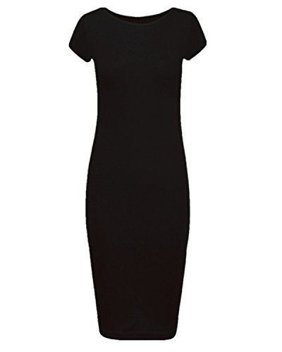 NEW WOMENS LADIES SHORT CAP SLEEVE PLAIN BODYCON MAXI MIDI DRESS SIZE UK 8-18 (S/M, BLACK)