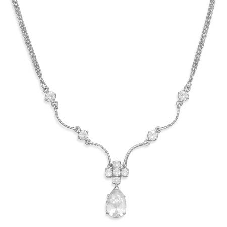 16 Inch+2 Inch Extention Rhodium Plated 2 Strand Necklace With CZs - JewelryWeb