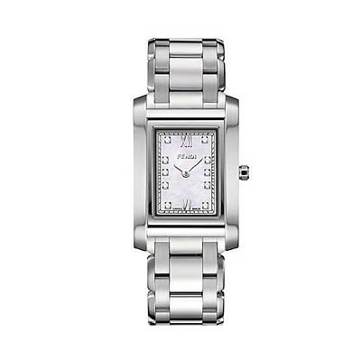Fendi Loop Small Square Diamond MOP Dial and Bracelet Quartz Watch - F775240D