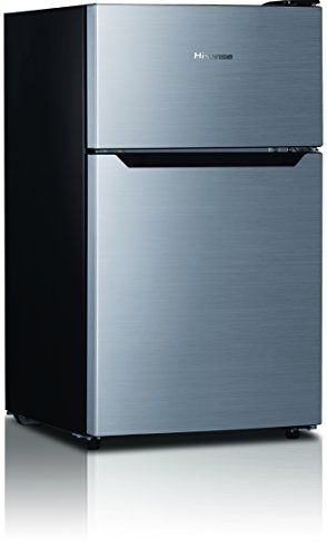 Hisense RT33D6BAE Compact Refrigerator with Double Door Top Mounted Freezer, 3.3 cu. ft., Stainless Silver (2 Door Mini Fridge With Freezer compare prices)