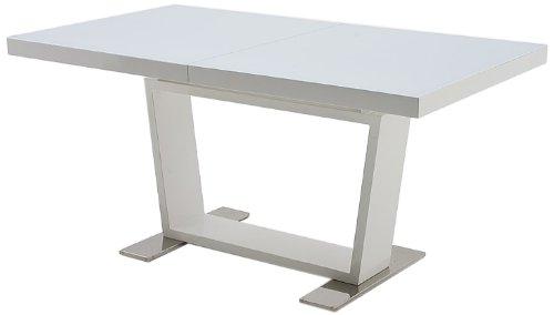0216HWGW Auszugstisch Manhattan, Tischplatte Glas reinweiß und Klappeinlage Hochglanz weiß lackiert, Gestell: Hochglanz weiß und Füße Edelstahl poliert, 160(240) x 76 x 90 cm