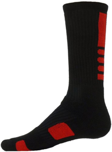 Red Lion Legend Athletic Crew Socks (Black with Red, Medium)