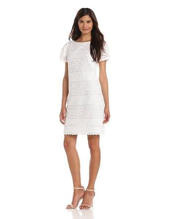 Jessica Howard Women's Petite Puff Sleeve Shift Dress With Scallop Hem, White, 4P