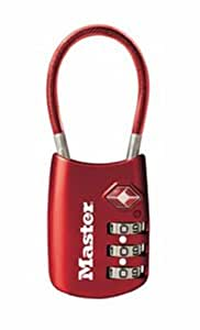 Master Lock 4688DRED TSA Accepted Cable Luggage Lock, Red