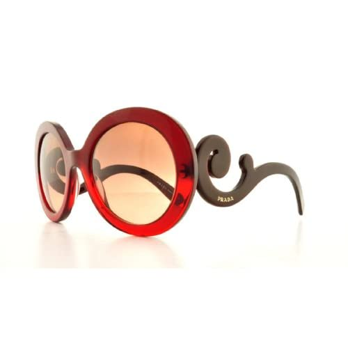 Prada Baroque Round Sunglasses in Bordeaux Red Gradient - PR 27NS MAX0A5 55 PR 27NS MAX0A5 55 55 Red Gradient