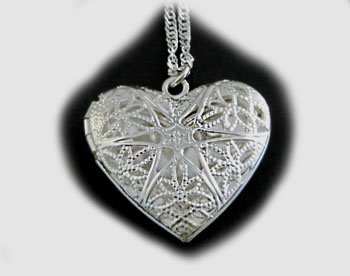 Sterling Silver Aromatherapy Diffuser Heart Locket Pendant Necklace