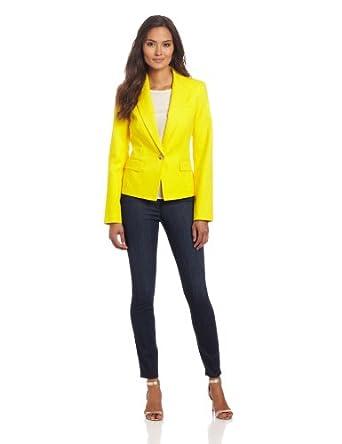 Anne Klein Women's One Button Blazer, Chrome, 4