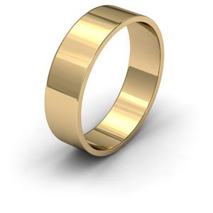 9ct Yellow Gold, 6mm Wide, Flat Shape Wedding Ring - Size N